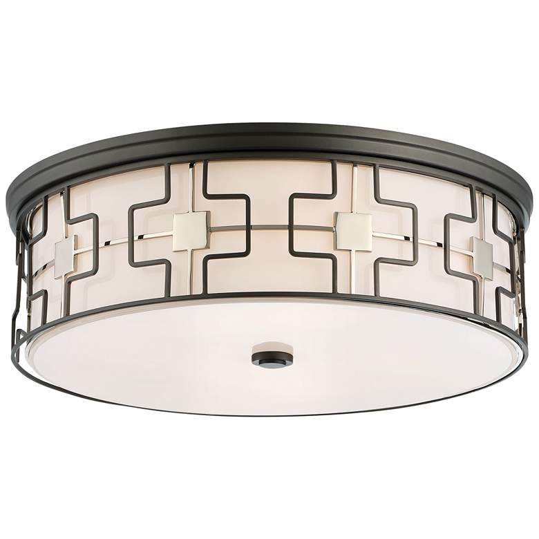 "Flush Mount 20"" Wide Dark Gray Drum LED Ceiling Light"