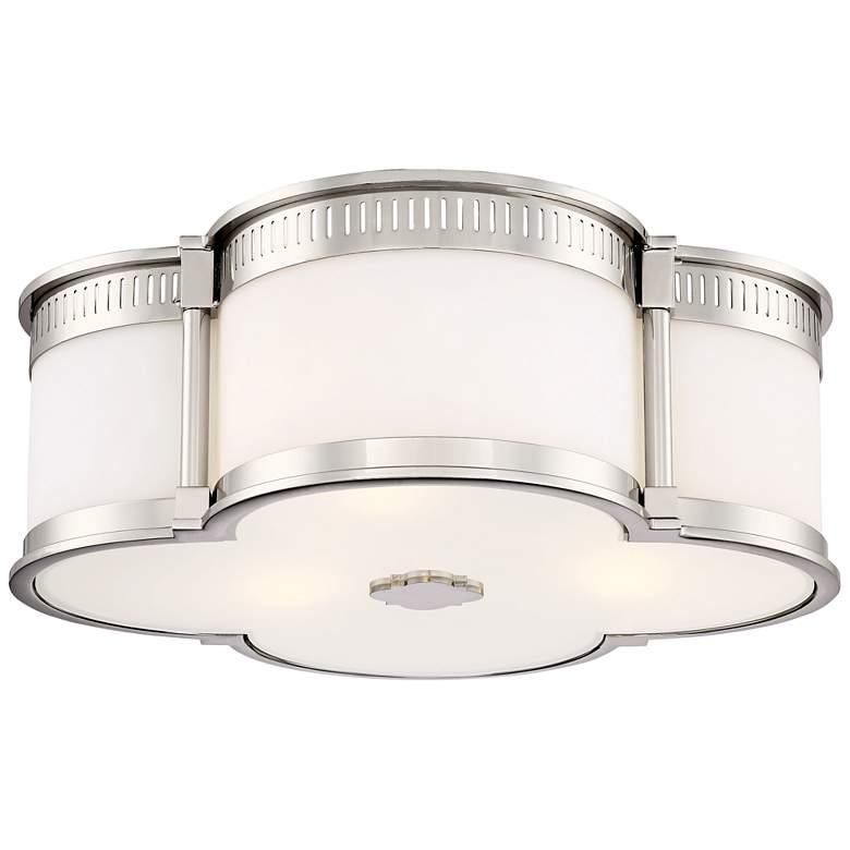 """Flush Mount 16 1/4"""" Wide Polished Nickel LED Ceiling Light"""