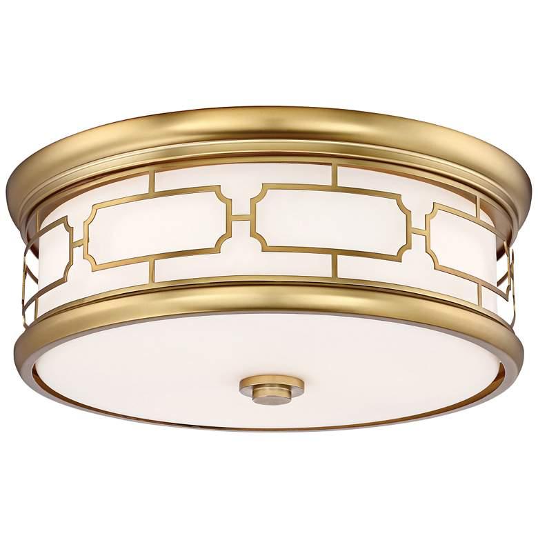"Flush Mount 16"" Wide Liberty Gold Drum LED Ceiling Light"