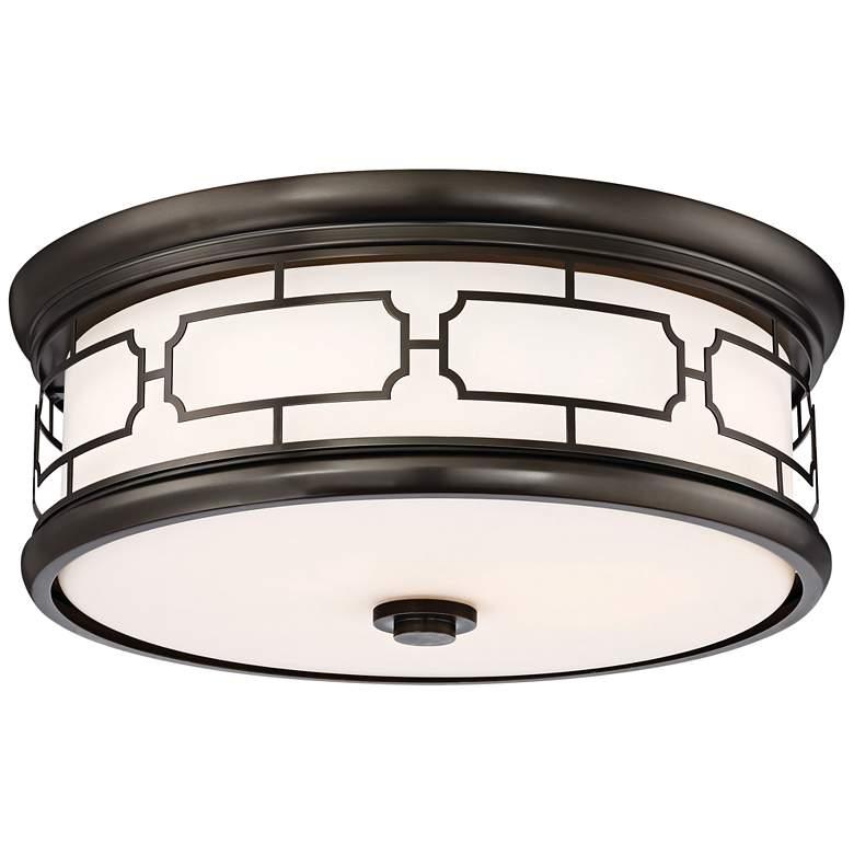 """Flush Mount 16""""W Harvard Court Bronze Drum LED Ceiling Light"""