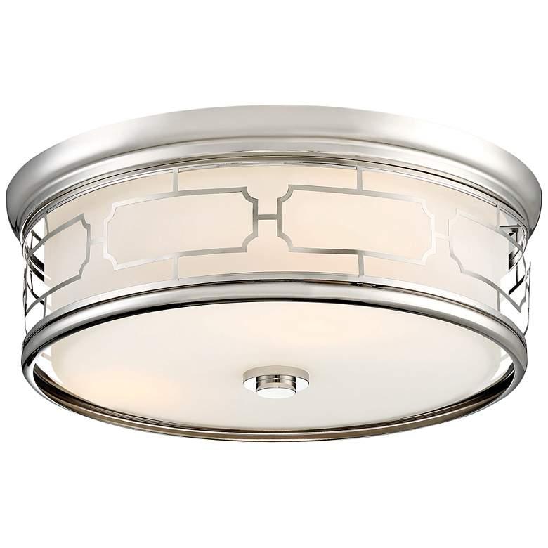 """Flush Mount 16"""" Wide Polished Nickel Drum LED Ceiling Light"""