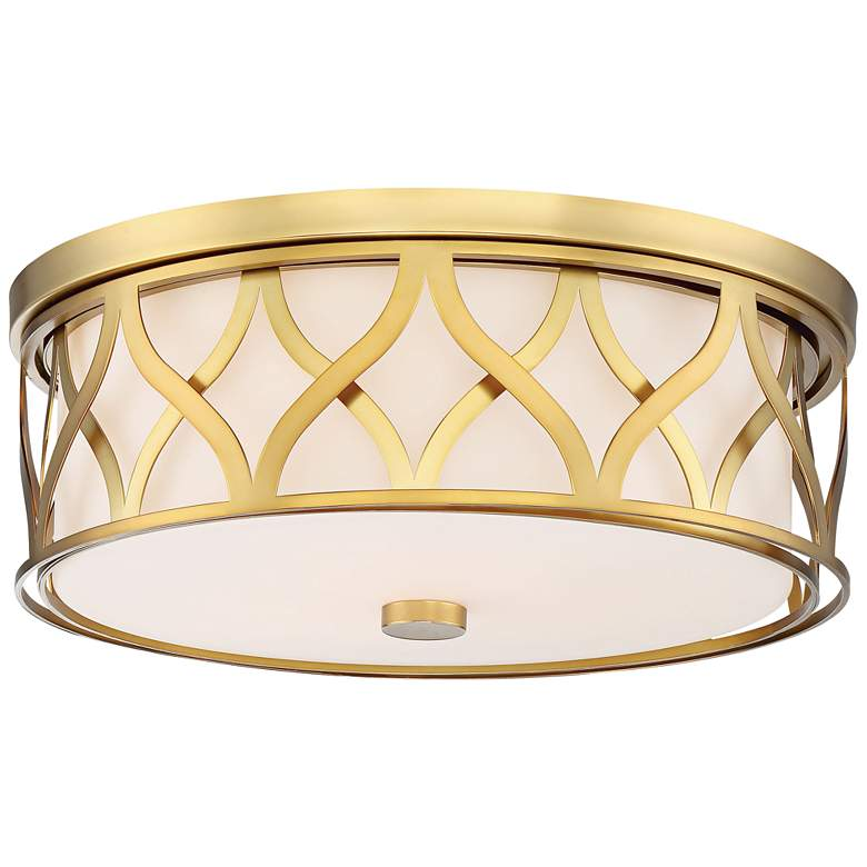 """Flush Mount 16"""" Wide Liberty Gold 2-Cage LED Ceiling Light"""