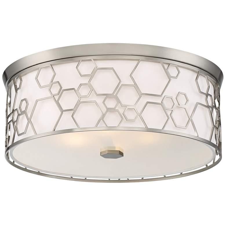 """Flush Mount 17"""" Wide Brushed Nickel Drum LED Ceiling Light"""