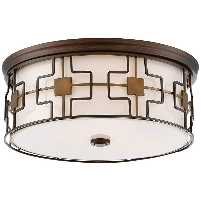 "Flush Mount 16""W Dark Brushed Bronze Drum LED Ceiling Light"
