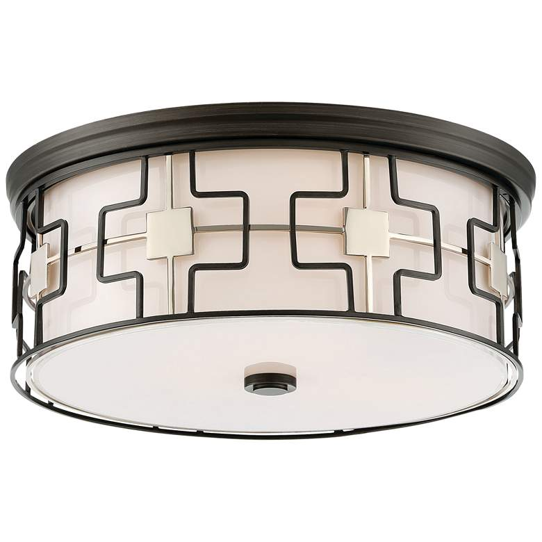 "Flush Mount 16"" Wide Dark Gray Drum LED Ceiling Light"