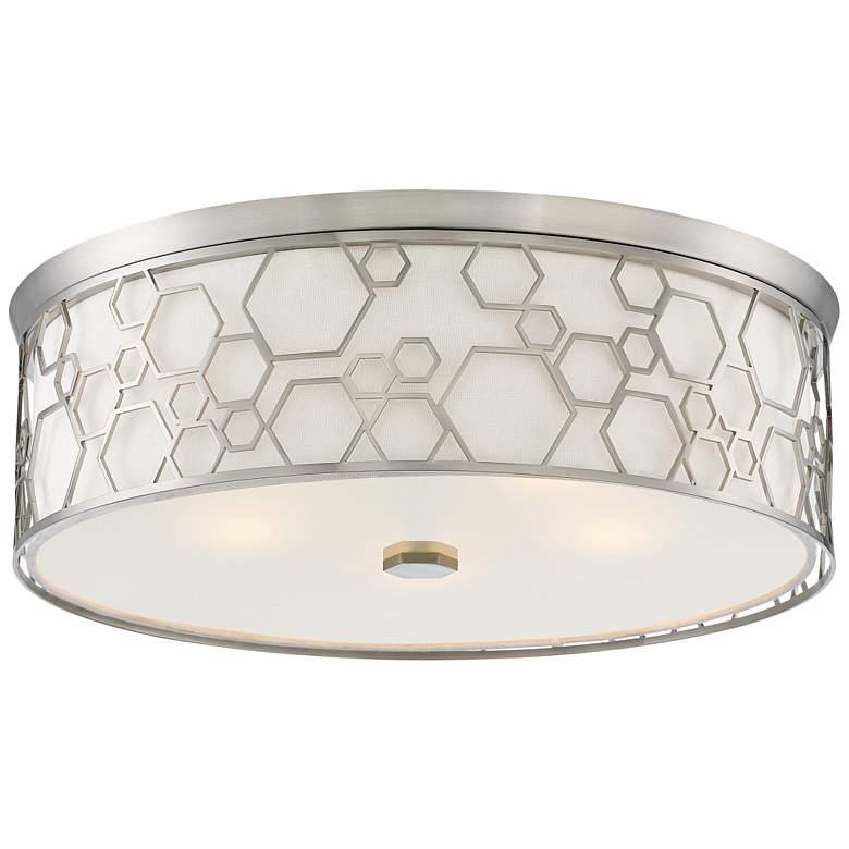 """Flush Mount 20"""" Wide Brushed Nickel Drum LED Ceiling Light"""