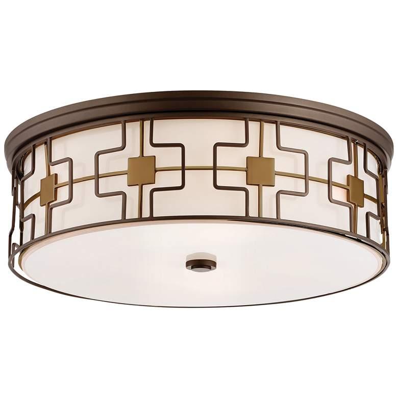"Flush Mount 20""W Dark Brushed Bronze Drum LED Ceiling Light"