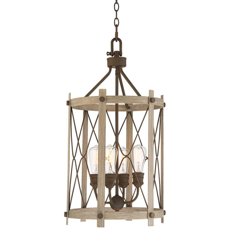 """Daryl 16 1/2"""" Wide Bronze and Wood Entry Pendant Light"""