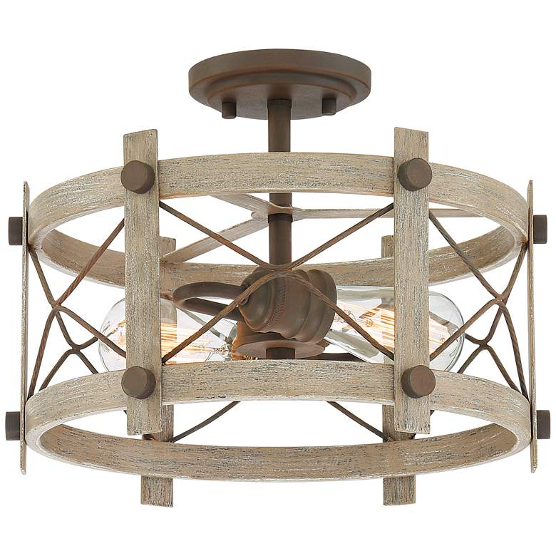 "Daryl 14 3/4"" Wide Bronze and Wood Open Drum Ceiling Light"