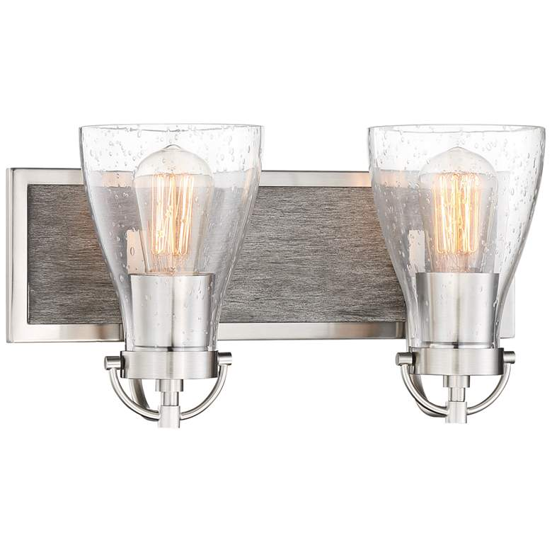 "Garrison 8 1/2""H Brushed Nickel and Wood 2-Light Wall Sconce"