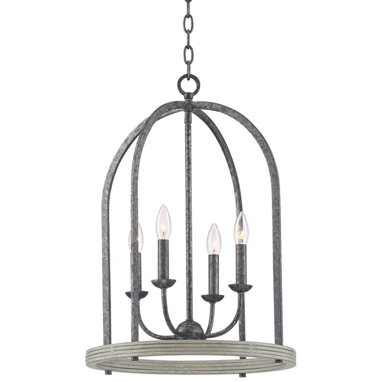 "Nala 17"" Wide Light Black and Gray Caged Foyer Pendant Light"