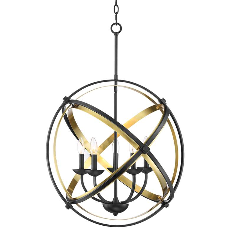 "Possini Euro Gideon 24"" Wide Black and Brass 5-Light Pendant"