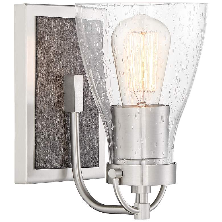 """Garrison 8 1/2"""" High Brushed Nickel and Wood Wall Sconce"""