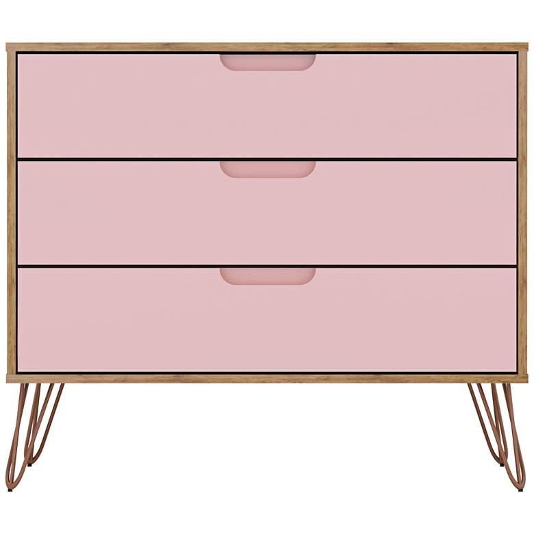 """Rockefeller 35 1/4""""W Natural and Rose Pink 3-Drawer Dresser"""