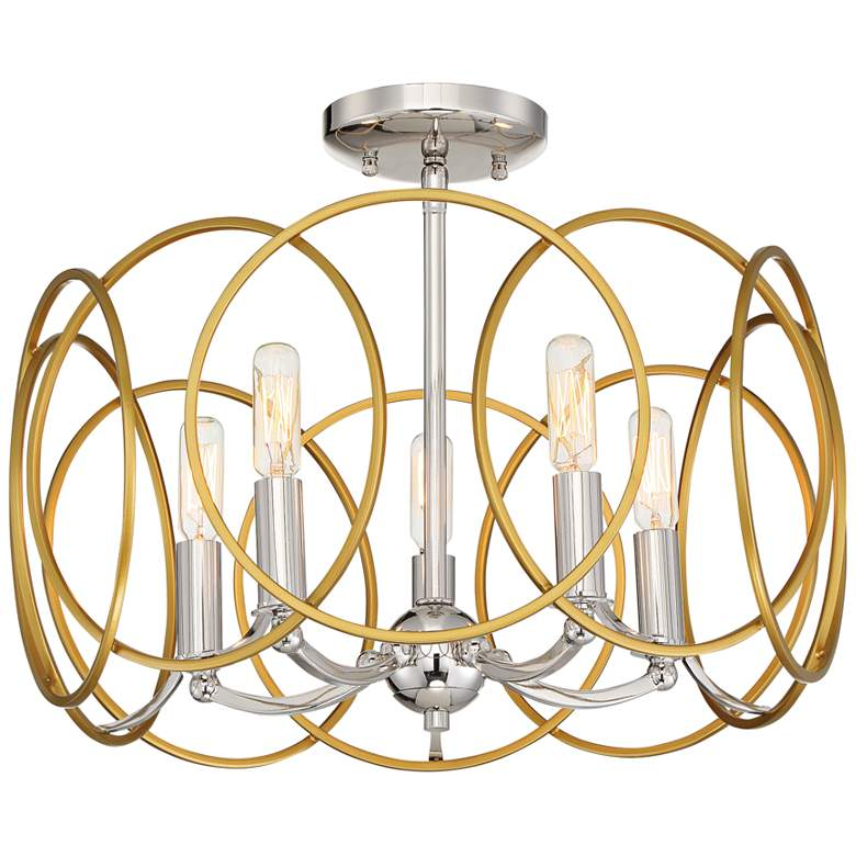 """Chassell 18 1/4""""W Gold and Nickel Convertible Ceiling Light"""