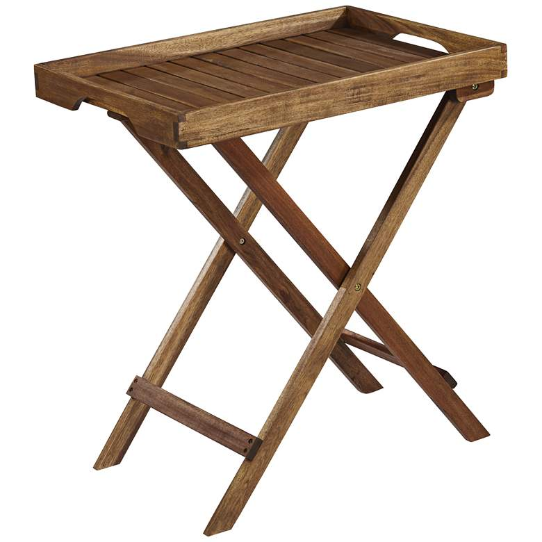 "Perry 27""W Natural Acacia Wood Outdoor Folding Tray"
