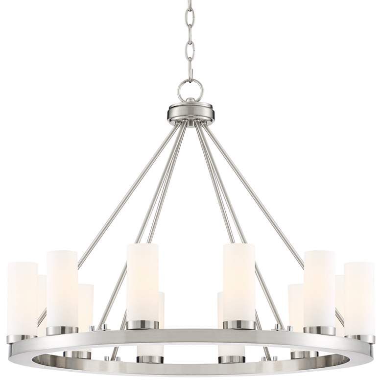 "Tila 29 1/2""W Brushed Nickel and Glass 12-Light Chandelier"