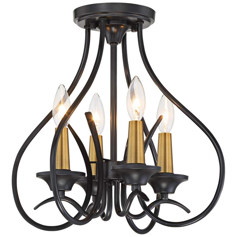 "La Courbe 15 1/2"" Wide Black and Brass 4-Light Ceiling Light"