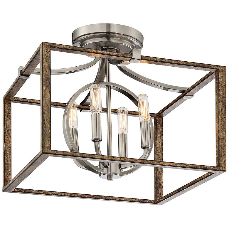 "Country Estates 16 1/2""W Faded Wood 4-Light Ceiling Light"