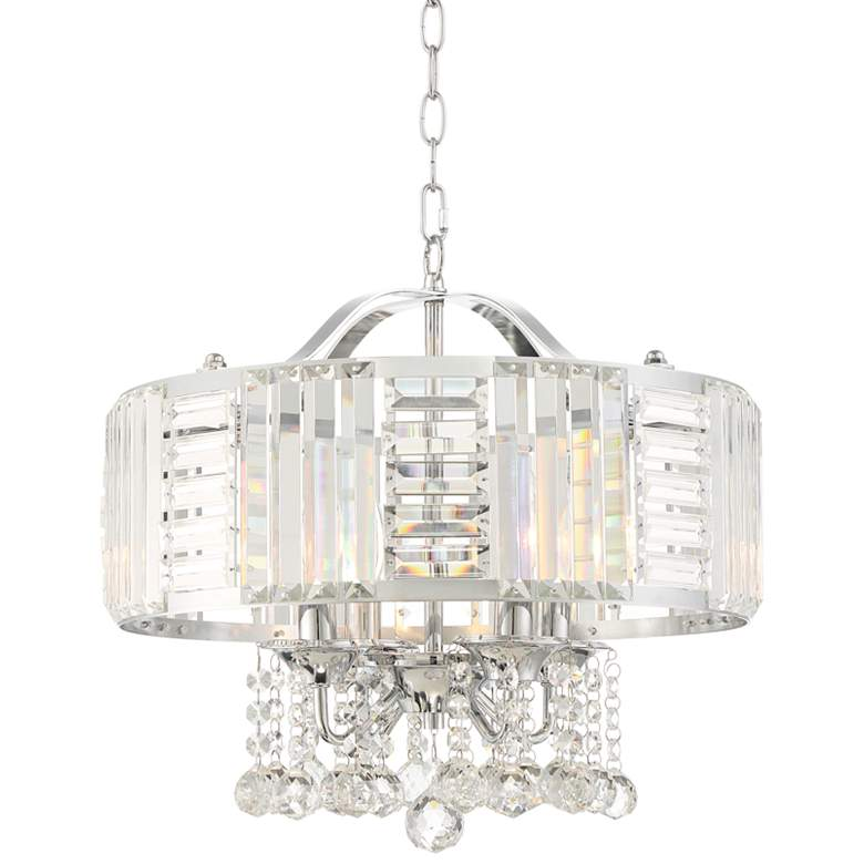 """Halsey 18"""" Wide Chrome and Crystal Drum Pendant Light"""