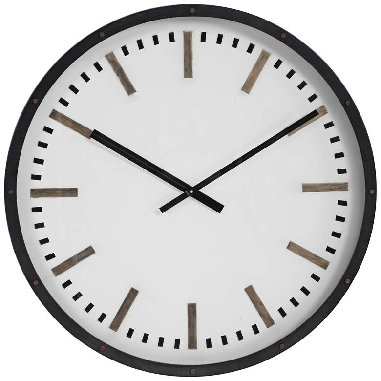 """Uttermost Fleming 31 3/4"""" Black and White Modern Wall Clock"""