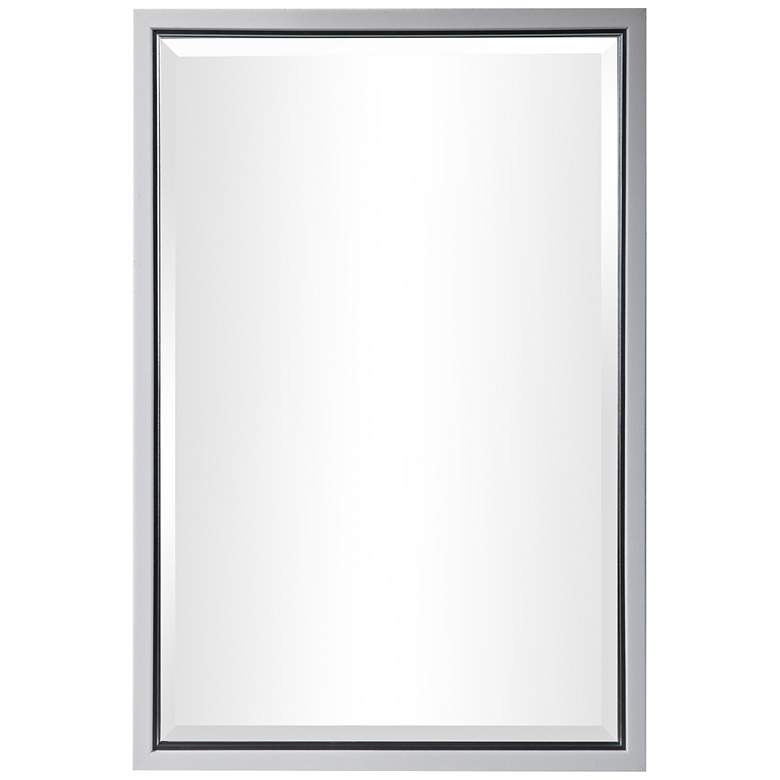 "Barnaby White and Silver 22 1/4"" x 32 1/4"" Vanity Mirror"