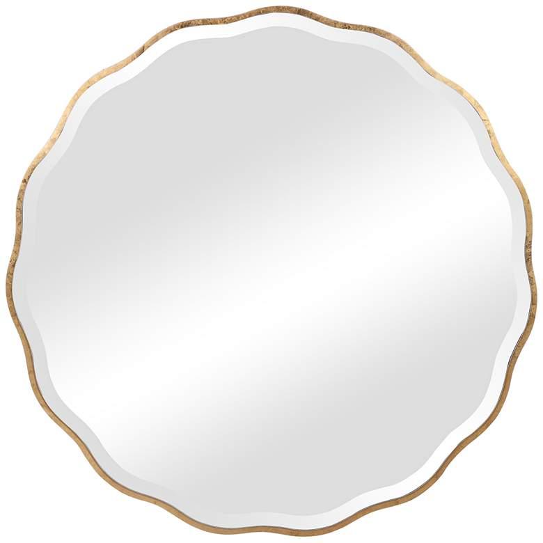 "Aneta Aged Gold Scalloped 42"" Round Oversized Wall Mirror"