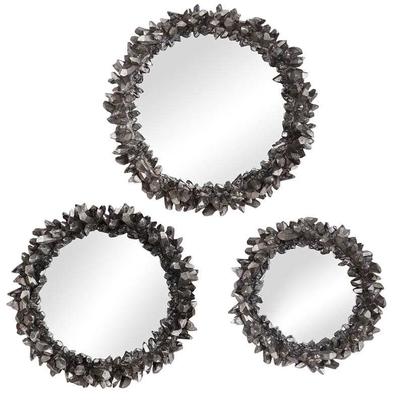 Uttermost Galena Antique Silver Round Wall Mirrors Set of 3