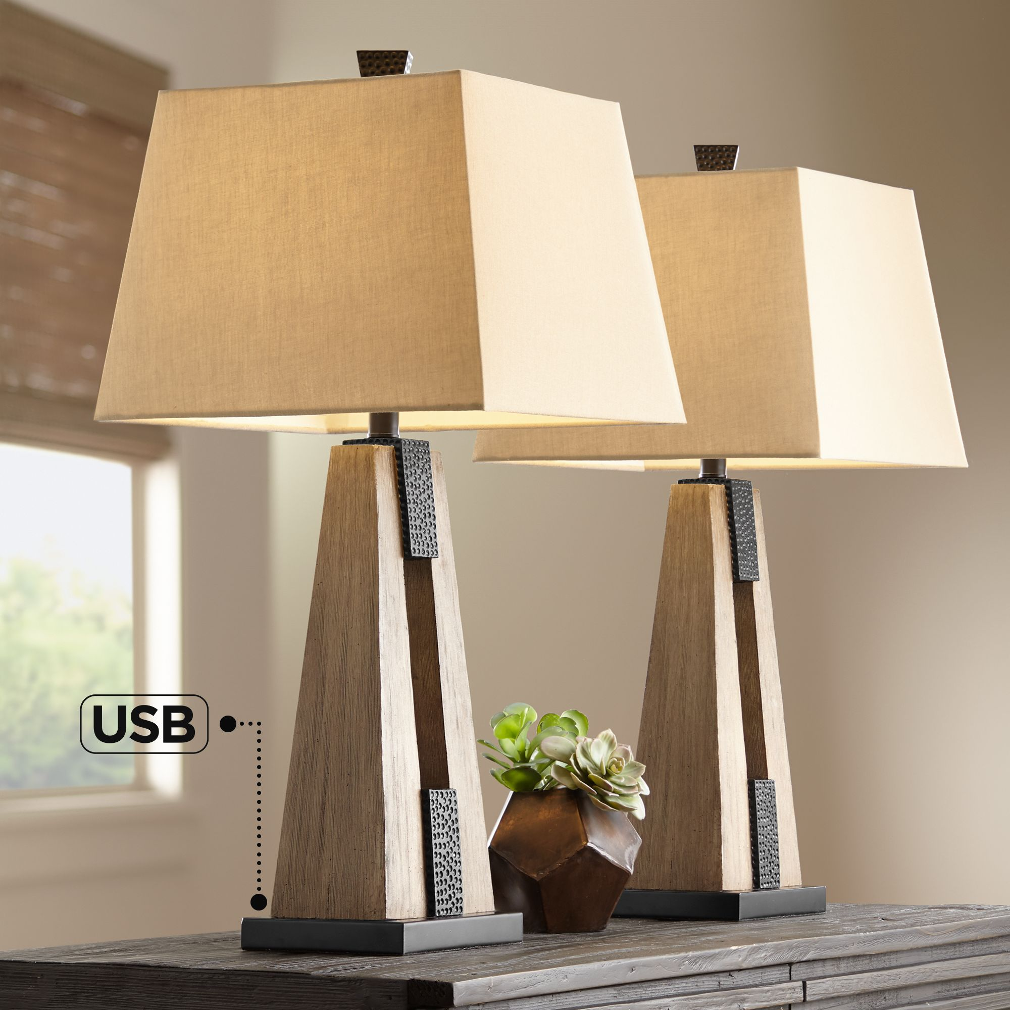 Picture of: Rustic Farmhouse Table Lamps Set Of 2 With Usb Wood Oatmeal Shade Living Room Ebay