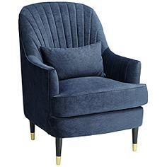 Austen Navy Velvet Tufted Armchair with Pillow