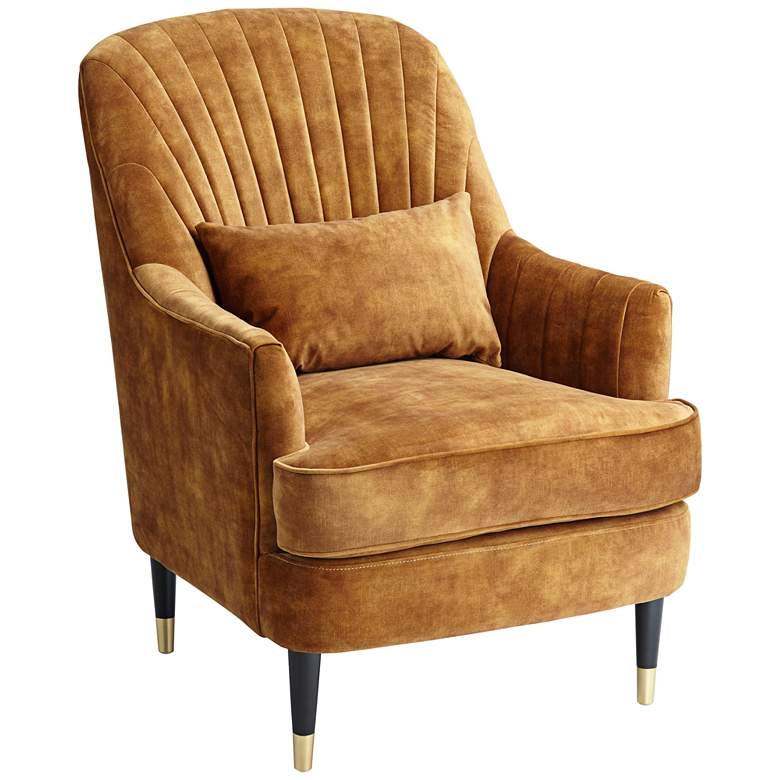 Austen Caramel Velvet Tufted Modern Armchair with Pillow