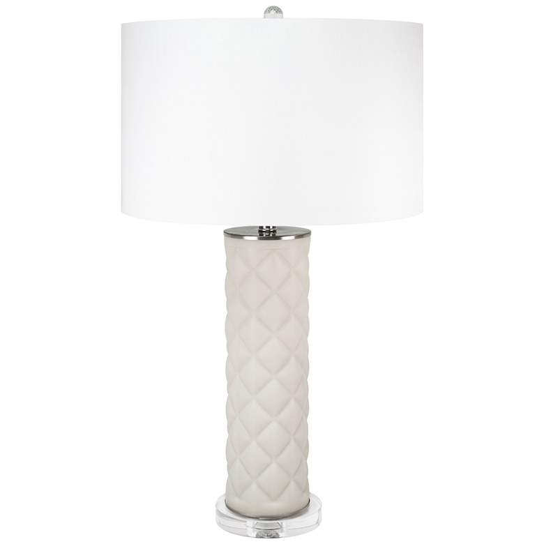 Couture Lenora Light Gray Geometric Ceramic Table Lamp