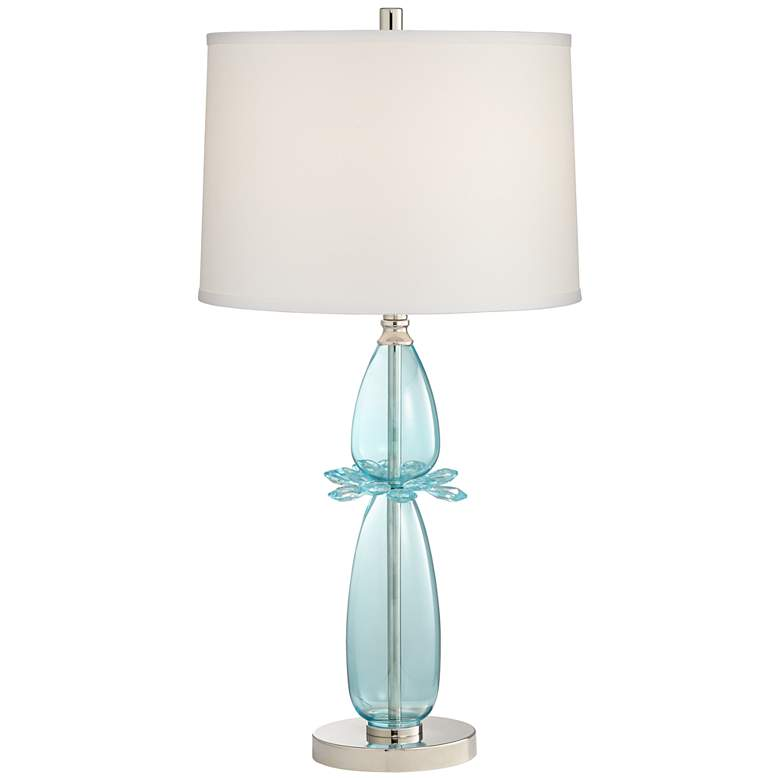 Possini Euro Hyacinth Blue Glass Table Lamp