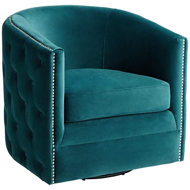Bridgerton Teal Green Velvet Tufted Swivel Accent Chair