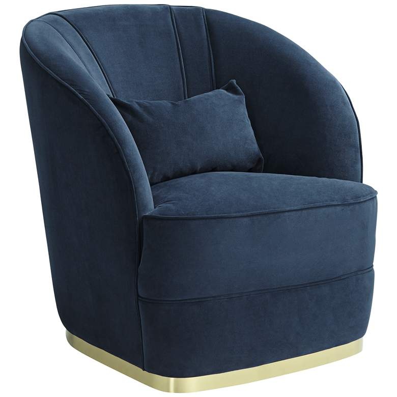 Nebbia Navy Velvet Accent Chair with Kidney Pillow