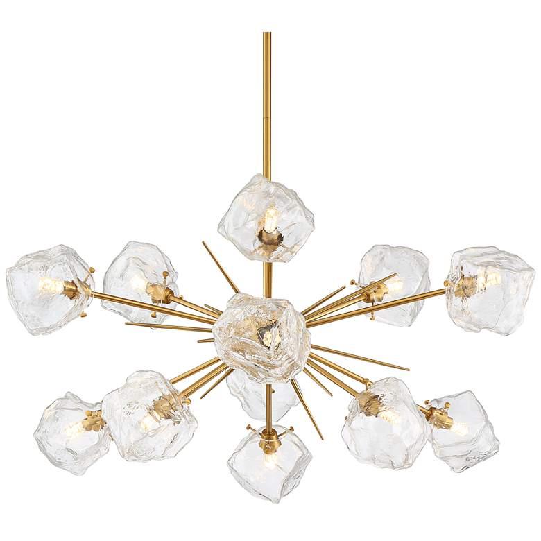 "Stiffel Melvan 36 1/2""W Golden Bronze and Ice Glass 12-Light Pendant"
