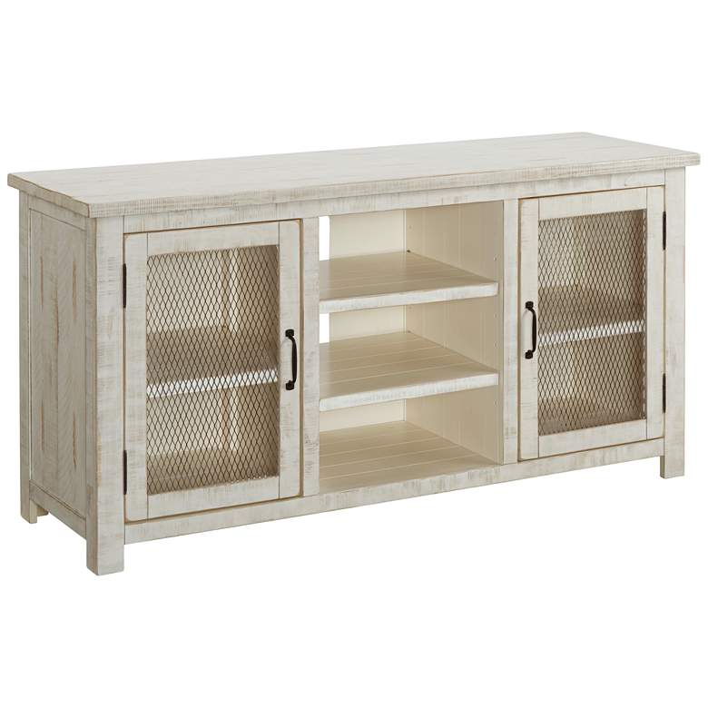 "Trent 60"" Wide Antique White 2-Door Wood TV Stand Console"