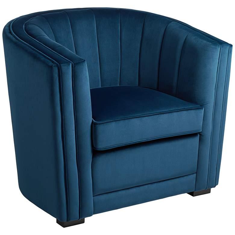 Torini Channel Tufted Blue Velvet Accent Chair