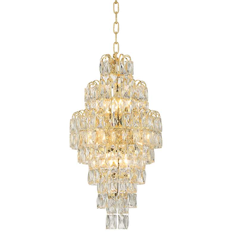 """Hourglass 13"""" Wide Gold and Crystal Pendant Chandelier"""