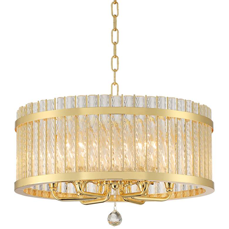 "Bryant 21 3/4"" Wide Gold and Glass 6-Light Drum Pendant"