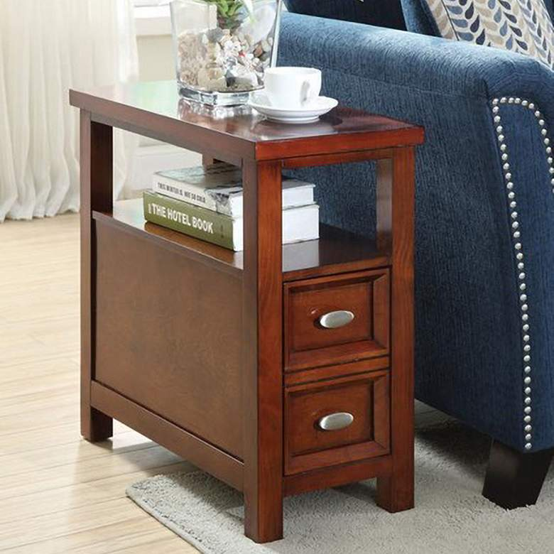 """Cunningham 12"""" Wide Cherry Wood Side Table"""