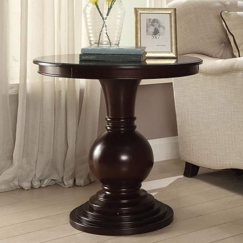 "Palomar 26"" Wide Espresso Wood Round Pedestal Accent Table"