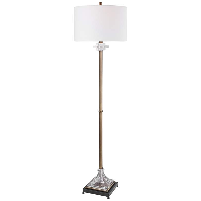 Uttermost Rafferty Antique Brass Metal Stem Floor Lamp