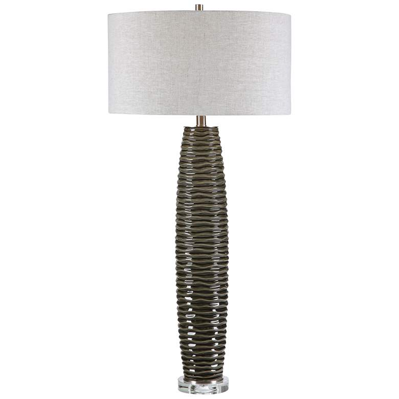 Uttermost Achilleus Charcoal Gray Ribbed Ceramic Table Lamp