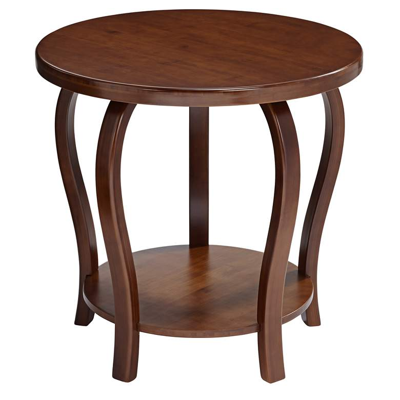 "Pendalton 23 3/4"" Wide Dark Walnut Large Bamboo Accent Table"