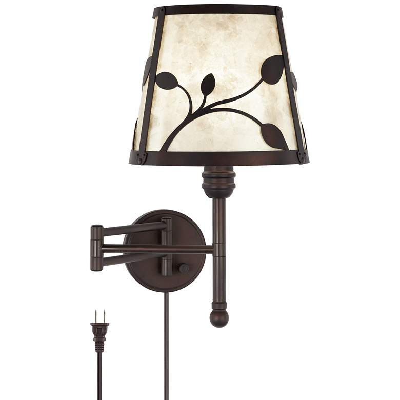 Ivette Bronze Ivy and Mica Shade Swing Arm Wall Lamp