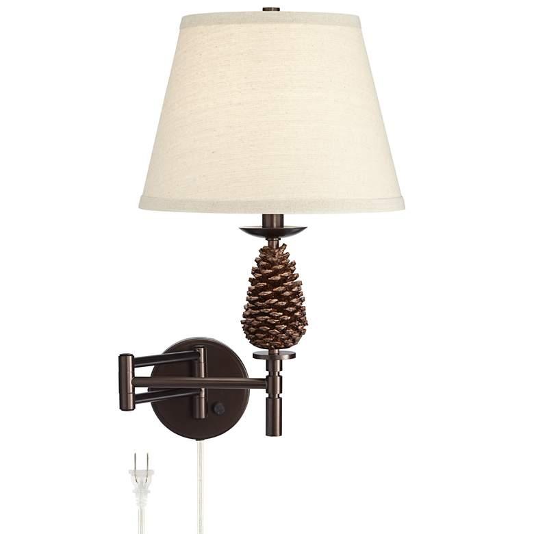 Jackie Bronze Pinecone Adjustable Swing Arm Wall Lamp