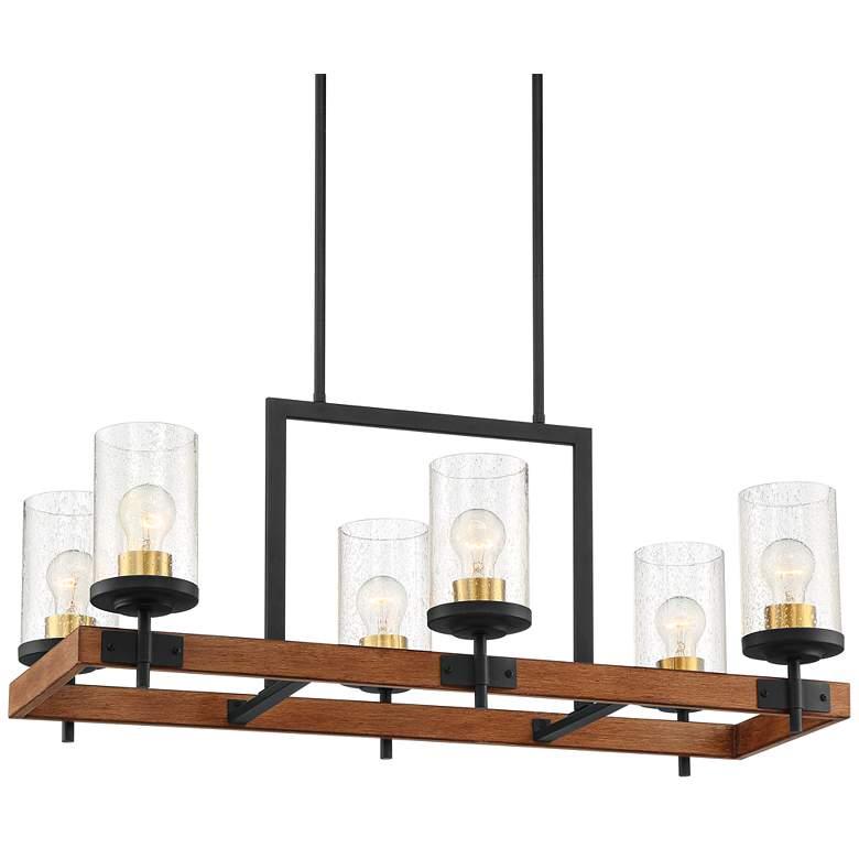 "Kata 32"" Wide Black and Wood Kitchen Island Light Chandelier"