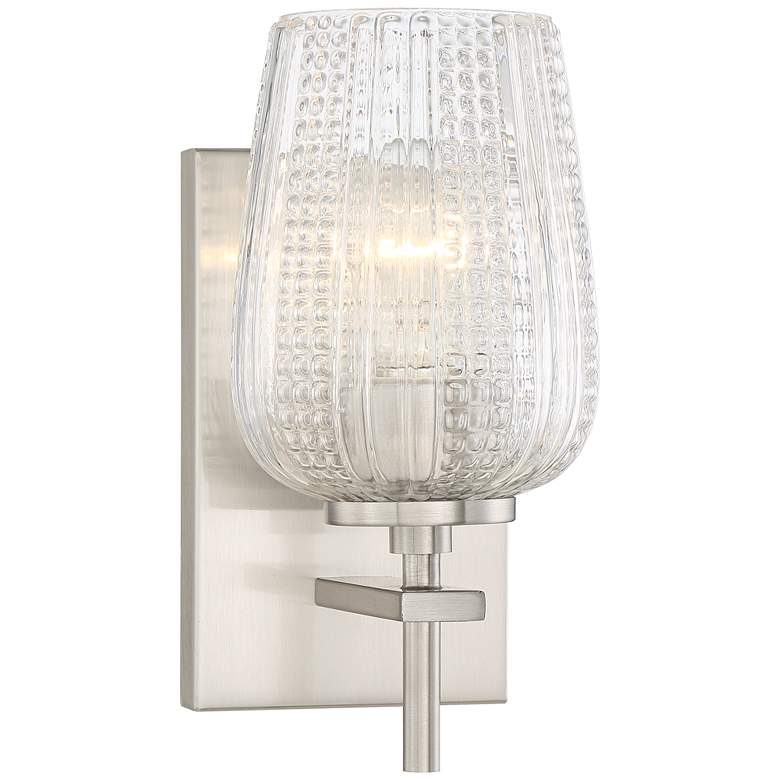 "Jacob 10"" High Textured Glass Traditional Wall Sconce"