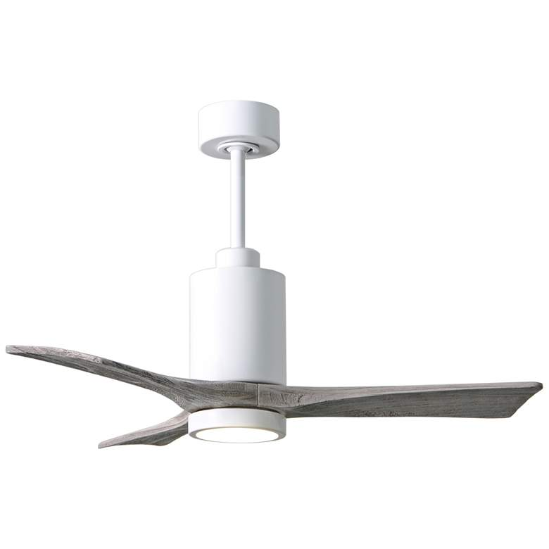 "42"" Matthews Patricia-3 Gloss White LED Damp Ceiling Fan"